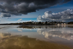 Symmetry in the sand (snowyturner) Tags: beach clouds symmetrical sea reflections finistere bay tide coast france