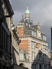 Bourse, Rue de la Monnaie approaching Place d'Armes, Namur, Belgium (Paul McClure DC) Tags: belgium belgique wallonie wallonia feb2018 namur namen ardennes historic architecture