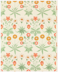 Daisy by William Morris (1834-1896). Original from The MET Museum. Digitally enhanced by rawpixel. (Free Public Domain Illustrations by rawpixel) Tags: antique art artwork background beautiful bloom blooming blossom bohemian botanical botany branch cc0 colorful decor decorative delicate design detailed fabric flora floral flower garden graphic green illustration interiordesign leaves morris name nature old orange ornament ornamental pattern pdproject petal plant print publicdomain retro style stylish summer textile texture vintage wallpaper william williammorris yellow
