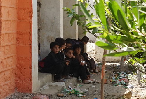 Children at a school targeted by miltiants, Khyber Agency, Pakistan's tribal areas.