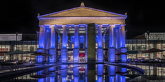 Theatrical Reflections (Diane Theis) Tags: architecture building theater raleigh north carolina nikon d810 nikkor reflection night lights blue auditorium city
