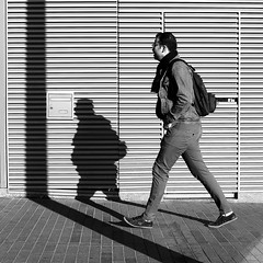 The shade and his man (pascalcolin1) Tags: paris13 homme man ombre shade shadow lumière light mur wall poteau photoderue streetview urbanarte noiretblanc blackandwhite photopascalcolin 50mm canon50mm canon