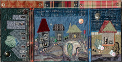 From Town to Country- (Patricia Hardie) Tags: embellished fibreart fmq handstitched recycledmaterial softwallhanging
