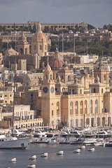 From the upper Barrakka (archidave) Tags: valletta malta grandharbour walls fortifications city urban vittoriosa birgu dome