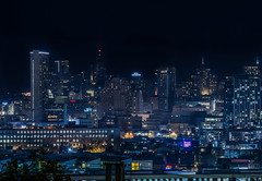 6th street skyline (pbo31) Tags: sanfrancisco california city urban night dark black november 2018 color nikon d810 boury pbo31 soma skyline hotel potrerohill over hilton neon sign huntington yahoo structure