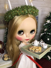 2. Little Lucia (Foxy Belle) Tags: doll santa saint lucia day lucias blythe playscale 16 cabin log rustic ooak food saffron buns fimo folk folksy peasant wooden scale dollhouse miniature