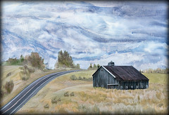 Passing By (Terry Pellmar) Tags: texture digitalart digitalpainting barn road sky pasture ddg
