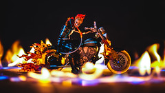 Hell Ride (3rd-Rate Photography) Tags: ghostrider johnnyblaze marvel marvellegends toy toyphotography motorcycle fire canon 50mm 5dmarkiii jacksonville florida 3rdratephotography 365 earlware actionfigure