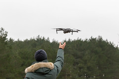 Launching drone takes off from the pilot's hand