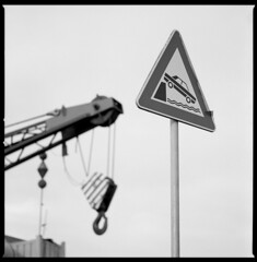 if ... there is a crane (ukke2011) Tags: hasselblad503cw sonnar1504cf ilforddelta100 selfdeveloping kodak hc110 film pellicola analog analogico 6x6 120 square mediumformat bw blackandwhite bianconero monochrome harbor porto crane wharf banchina