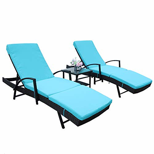 Cheap LEAPTIME Patio Lounge Chair Pool Sunbed Rattan Chaise with Armrest 5 Position Adjustable Black PE Wicker Outdoor Furniture with Turquoise Cushion (3 Piece, Turquoise)