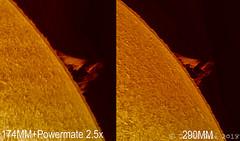 protuberancias solares 10/11/2018 - comparativa de cámaras (Jordi Sesé) Tags: asi174mm asi290mm pstmod solar sun prominences