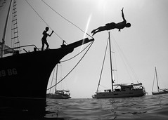 the jump (chtimageur) Tags: jump dive boat sea bw black white silhouettes holidays fun dear go