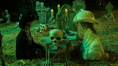DSC01544 (shallowgrave@sbcglobal.net) Tags: halloween skeleton oldladies teaparty candle tombstone skull cemetery grave