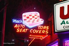 Mac's Auto Tops Seatcovers - Ballard Neightborhood in Seattle WA (kyfireenginephoto) Tags: neon ballard fremont sign advertising auto nostalgia seat top cover upholstery wa red blue roadside ad washington car repair salmon bay woodland seattle west highway