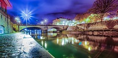 Bridge - 6261 (ΨᗩSᗰIᘉᗴ HᗴᘉS +37 000 000 thx) Tags: night bridge light réflection reflection water hens yasmine namur belgium europa aaa namuroise photo friends be yasminehens interest eu fr lanamuroise sonyilce7 laowa laowa12mm