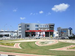 Orchestra store and traffic circle, Eleftherias Avenue, Larnaca, Cyprus (Paul McClure DC) Tags: larnaca larnaka cyprus mediterranean may2018 architecture modern aradippou