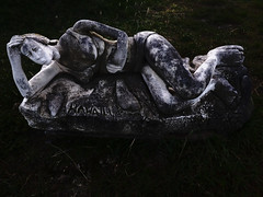 Hawaii (Steve Taylor (Photography)) Tags: hawaii bikini prostrate sculpture carving black green white stone woman lady newzealand nz southisland canterbury grass southnewbrighton sculpturepark bonsuter