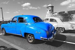 Havana Classic Cars (SJUAP - Thanks for the 1.5 million views) Tags: rims blue chrome cruising asphalt road street bw blackandwhite tokina canon taxicab taxi automobile car old classiccar caribbean lahavana havana cuba