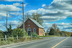 Once Upon A Time (gabi-h) Tags: oldchurch church princeedwardcounty countyroad clouds sky puffy white blue gabih road windows windowswednesday hydropoles autumn trees bengillroad