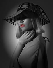 Lips! 👄 #Photoshoot #glamour #fashion #hat #stripes #BnW #blackandwhite #hand #blonde (gustavmanifesto) Tags: modelling model studio uk london photoshoot glamour fashion hat stripes bnw blackandwhite hand blonde