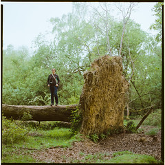 Dead Tree (Agnes for scale) (Attila Pasek (Albums!)) Tags: newforestnationalpark analogue bronicasqa tree mediumformat newforest camera 120film dead ektar 100 film kodak