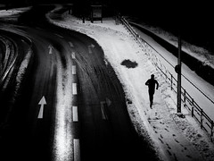 the runner (Sandy...J) Tags: street streetphotography sw schwarzweis strasenfotografie stadt silhouette winter snow blackwhite bw black white run running monochrom man mono urban olympus noir absoluteblackandwhite