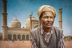At the Jami Masjid (david.travis) Tags: male oneperson delhi india headshot portraitphotography man urbanphotography jamimasjid old portrait