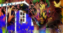 The little house in the wood (abstractartangel77) Tags: trees mannequin shed gardencentre