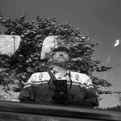 untitled (kaumpphoto) Tags: rolleiflex 120 tlr ilford bw black glass window reflection selfportrait street white tree glasses