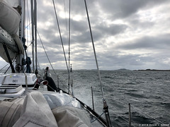 Approaching the Channel (David J. Greer) Tags: møreogromsdal norway no passage rubicon3 adventure sailing travel coastal sailtrainexplore ocean norwegian sea water windy spray waves sailboat boat grey sky