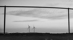 Blowing In The Wind (Martin Aasheim Ojeda) Tags: framing windmill 35mm blackandwhite bw pentax k1000 film skies clouds norway 50mm