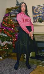 Pink satin blouse, black skirt - 1 (Kassi-D) Tags: crossdress crossdresser transvestite trans tgirl satin blouse