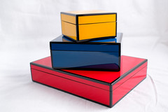 Boxes (Paul.Friedman) Tags: fuji fujifilm xt2 xf 23mm f2 still life boxes lacquer color red blue yellow box