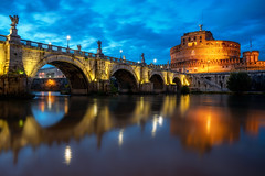 Castle Reflections (JH Images.co.uk) Tags: castel santangelo rome castle bridge angelo angels angel reflection river night hdr dri italy illuminated clouds