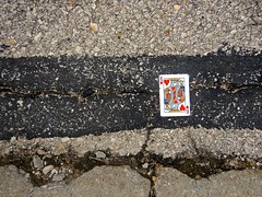 A Chance Encounter With the King of Hearts (ricko) Tags: street asphalt concrete card playingcard kingofhearts cracks
