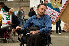 Disability_Demo__DS23832 (hoffman) Tags: britain british england great health infirmity kingdom uk affliction disability disabled disablement disadvantage festival handicap handicapped ill impairment impediment incapacitate incapacitated incapacity indisposition invalidity placard rights trafalgarsquare united weakness wheelchair transport unitedkingdom davidhoffman wwwhoffmanphotoscom
