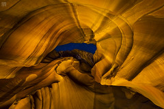 Antelope Canyon Night 3 (lycheng99) Tags: pagearizona page arizona arizonapassage mountains rock landscape night nightphotography longexposure stars starry starrynight antelopecanyon upperantelopecanyon canyon tunnel skylight pattern travel nature curves topography texture art