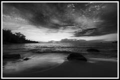 BW sunset over the ocean / Черно-белый закат над океаном (dmilokt) Tags: природа nature пейзаж landscape море sea пляж beach песок sand пальма palm небо sky облако cloud dmilokt чб bw черный белый black white nikon d850