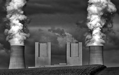 Blockbuster (HWHawerkamp) Tags: industrial factory smoke pollution industry power powerplant landscape bw concrete tower clouds building energy neurath germany sky globalwarming environment architecture chimney chimneys towers