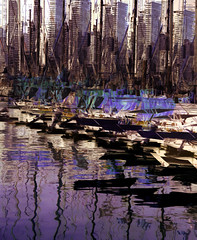 Marina (beelzebub2011) Tags: canada britishcolumbia vancouver heathermarina falsecreek abstract multipleexposure