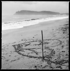 evidence of love (ukke2011) Tags: hasselblad503cw planarcfe8028 spur50dsx agfa copex selfdeveloping rodinal 150 analog analogico film pellicola 6x6 square 120 mediumformat bw blackandwhite bianconero monochrome sea mare beach spiaggia autumn autunno love heart