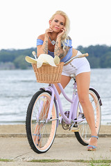 Crystal Bicycling at the Beach (Mark Birkle) Tags: image photo picture best model female hot summer bicycle vintage blonde sexy athletic beach legs long attractive woman white shorts tube top tattoo tattoos sleeve charming charm lake water good strong perfect nice provocative young cute smile beautiful lips eyes hair sweet intriguing