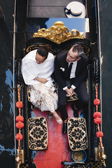 Beautiful people. (markfly1) Tags: gondola ride venice canals waterway grand man woman suit ball gown dress hat red white black elegance happy crest nikon d750