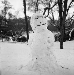 Fun with snow (rotabaga) Tags: sweden sverige svartvitt göteborg gothenburg blackandwhite bw bwfp mediumformat mellanformat 120 6x6 twinlens fomapan lubitel166 lomo lomography snowman
