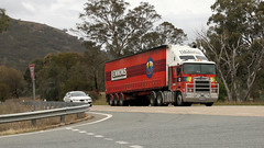 Bowning Turn (3/3) (Jungle Jack Movements (ferroequinologist)) Tags: western star constellation pacific formwork hume k104 kenworth transport yass haulage bowning nsw new wales australia highway freeway hp horsepower big rig haul freight cabover trucker drive carry delivery bulk lorry hgv wagon road nose semi trailer deliver cargo interstate articulated vehicle load freighter ship move roll motor engine power teamster truck tractor prime mover diesel injected driver cab cabin loud rumble beast wheel double b k200 maddens harden lennons