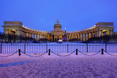 Christmas. Kazan Cathedral. (fedoseenko) Tags: санктпетербург россия красота colour beauty blissful loveliness beautiful saintpetersburg art dazzling light russia park peace white небо color sky pretty view heaven mood serene colours picture architecture building history tsar outdoors night ночь orthodox church cathedral cupola domes door gate religion snow frost freeze frosty снег места святыни собор field holy shrines walkway winter kazan blue ef1635f28lii evening landscape nativity архитектура вечер здание christmas святые