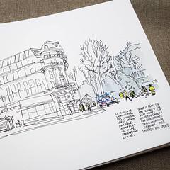 Samedi en Jaune, Paris IX (velt.mathieu) Tags: paris sketch usk uskparis urbansketchers 스케치 pen manifestation riot dessin protest