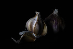 320/365: Out of the darkness (judi may) Tags: 365the2018edition 3652018 day320365 16nov18 lowkey lowlight garlic food black macro canon5d stilllife foodstyling foodphotography