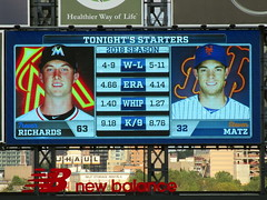Citi Field, 09/29/18 (NYM v MIA): tonight's starting pitchers and their statistics, as shown on the right field scoreboard - Trevor Richards for Miami, Steven Matz for New York (IMG_3844a) (Gary Dunaier) Tags: baseball stadiums stadia ballparks mets newyorkmets flushing queens newyorkcity queenscounty queensboro queensborough citifield
